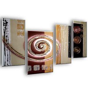 Quadro dipinto a mano 4 pezzi astratto design moderni for Pezzi di arredamento