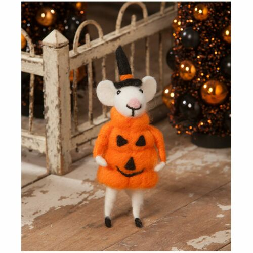 """Bethany Lowe 7"""" Felted Pumpkin Mouse Witch Jack Halloween Retro Vntg Decoration"""