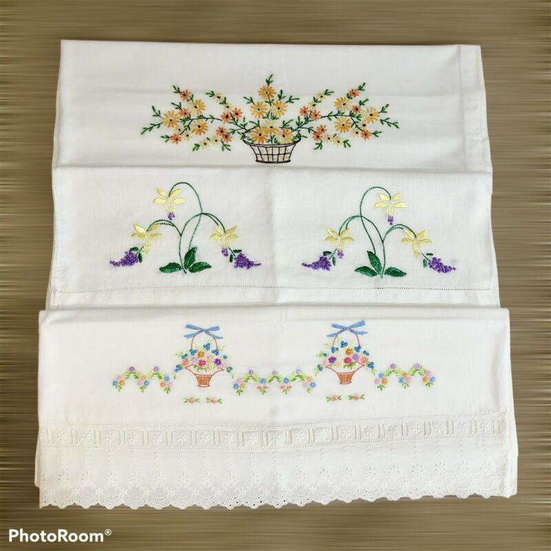Vintage Embroidered Pillowcase Lot Floral COTTAGE  FLOWERS