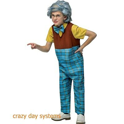 NWT Grandpa Child Halloween Costume Old Person Shirt Pants Wig Bow Tie 8-10](Old Person Costumes)