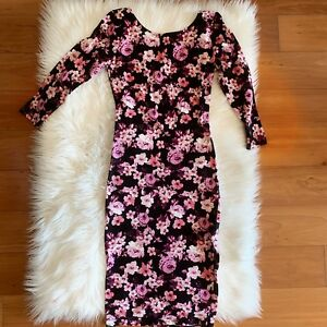Black floral bodycon dress, like new, size S