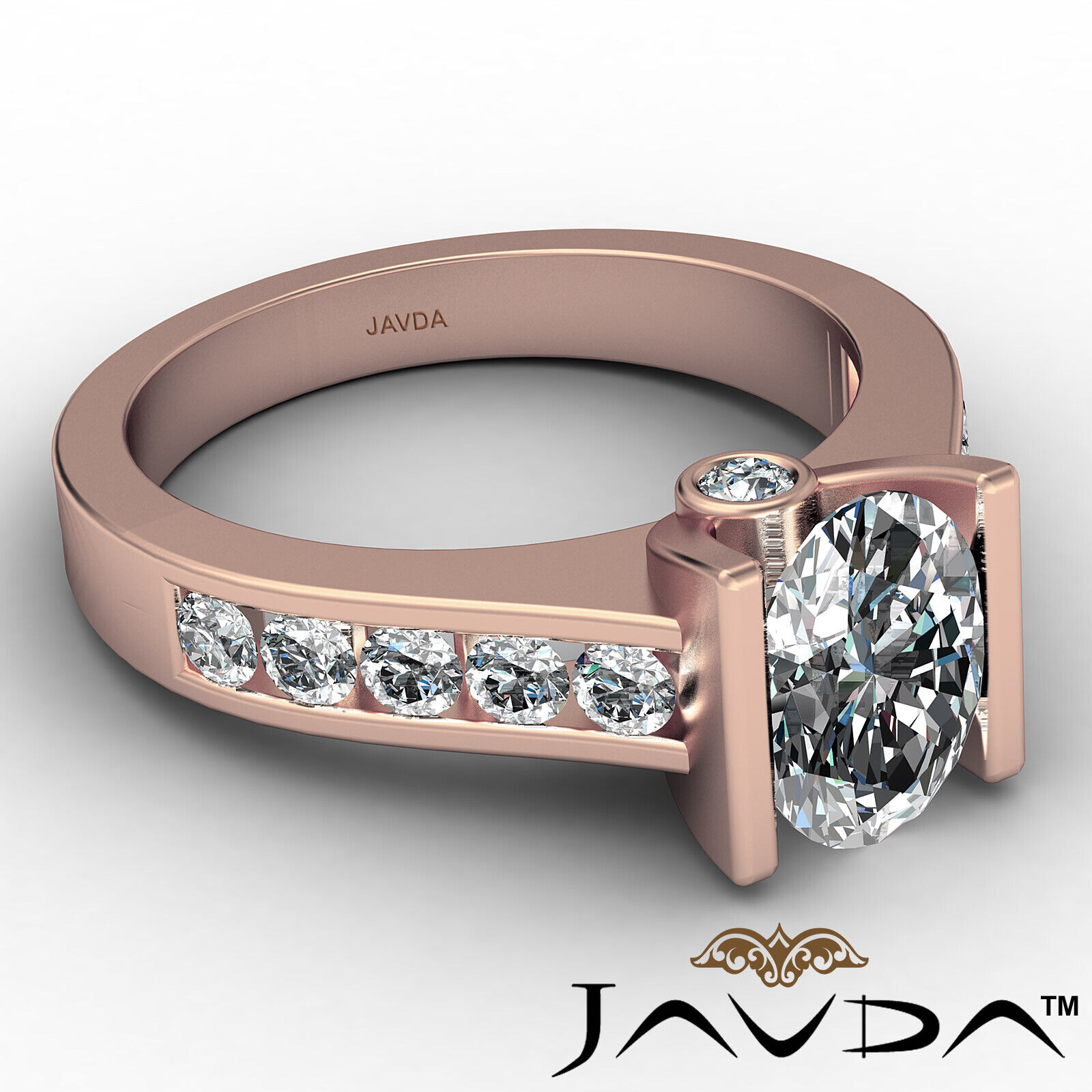 Oval Diamond Engagement Bezel Setting Ring GIA, E Color & SI2 clarity 1.4 ctw. 8