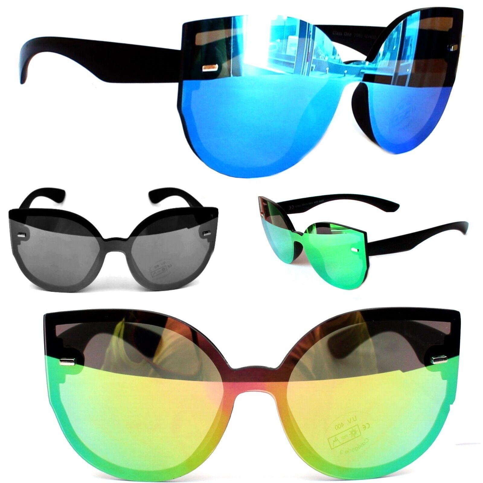 Moderne Große Katzenaugen Sonnenbrille Cateye Verspiegelt Schwarz Grün Blau 2650