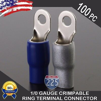 0 Gauge Platinum Ring Terminal 100 Pack 10 Awg Wire Crimp Blue Silver Boot 38