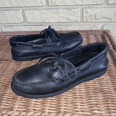 Sperry Top Sider Men's 6 M Black Leather Slip On Loafer Moc Boat Shoes for sale  Shipping to South Africa