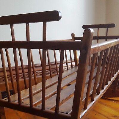 ORIGINAL Antique COMB BACK WINDSOR Wood ROCKING Baby CRADLE All Hand Crafted
