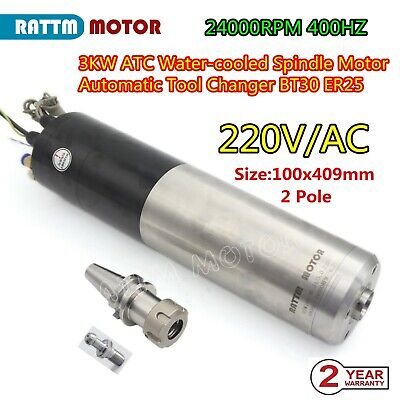 3kw Bt30 Water Cooled Spindle Automatic Tool Changer 220v Cnc Router Atc Spindle