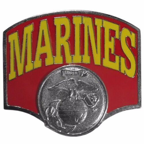 marines red and yellow logo metal trailer hitch cover
