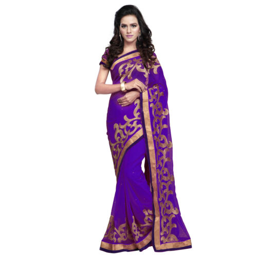 Indian Party Wear Designer Purple Faux Chiffon Zari Embroidered Border Saree available at Ebay for Rs.760