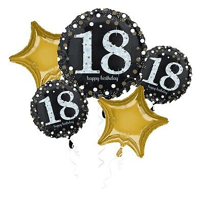 Happy 18th Birthday Bouquet 5 Foil Helium Balloons Black Gold Party Decorations