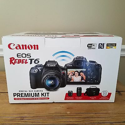 New SEALED Canon Rebel T6 with 18-55 and 75-300 mm Lens Bag Premium Kit