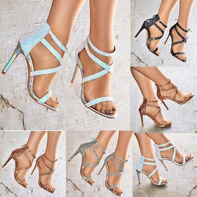 Ladies Stiletto Glitter Heeled Sandals Caged High Heel Open Toe Shoes Strap Size Caged High Heel