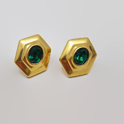 Gold Tone Faceted Deep Green Glass Stone Earrings