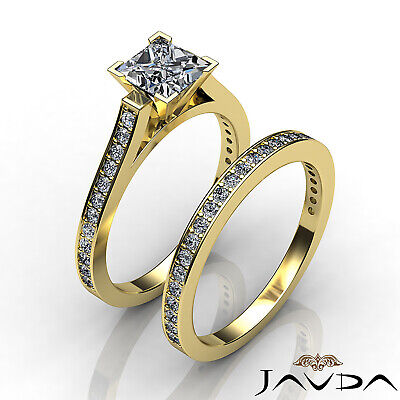 4 Prong Bridal Set Round Diamond Engagement Ring GIA F Color VS2 Clarity 1.57Ct 10