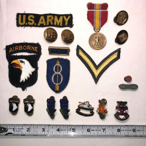 18 Original US Military Army Uniform Patches, Pins & Ribbon Bars - Vietnam Era
