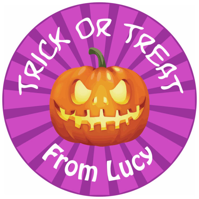 80 Personalised Halloween Stickers for partys trick or treat goodies
