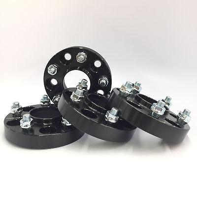 4 Hubcentric Black Wheel Spacers  5X4.75 5X120.7 70.3 CB 12x1.5 25MM 1 INCH