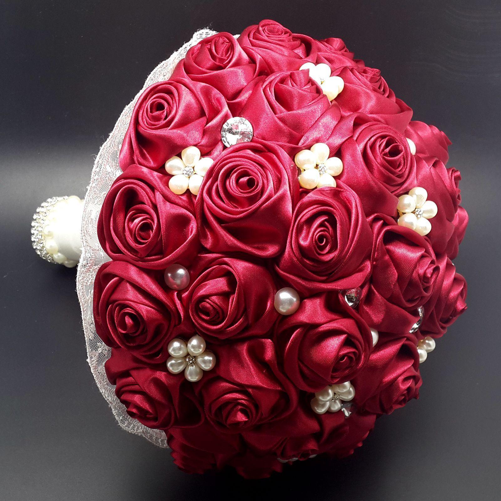 Lot 12pc Wine Red 2 Satin Ribbon Rose Flower Diy Wedding Bridal