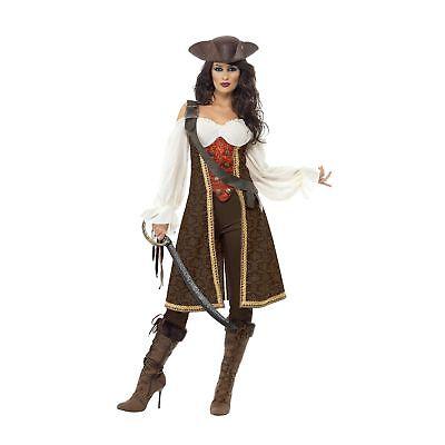 Lady Pirate Fancy Dress (Caribbean High Seas Pirate Wench Womens Ladies Fancy Dress)