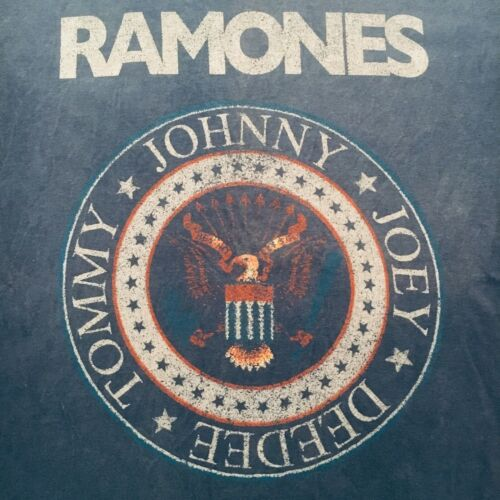 denim blue RAMONES SEAL punk t-shirt--1-2-3-4 OFFICIAL brand--OOP--NEW NWT--(L)