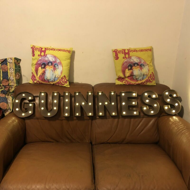 Guinness Large Distressed Effect Light Bulb Sign Irish Beer Advertising New!⚡️
