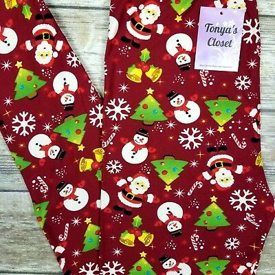 Santa Snowmen Leggings Christmas Tree Holiday Snowflake Bells ONE SIZE OS