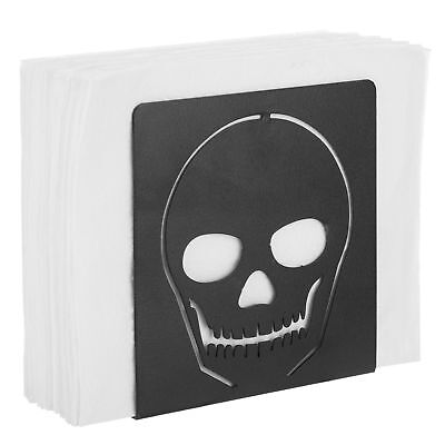 MyGift Black Metal Cutout Skull Napkin Holder