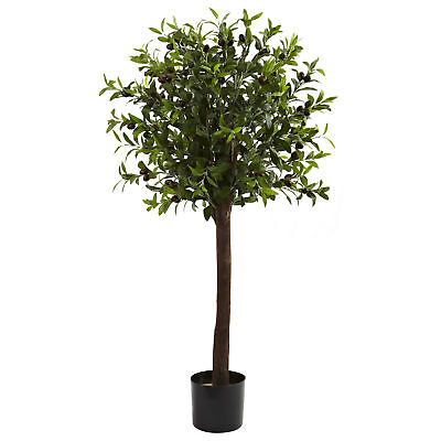 Artificial 4 ft Olive Round Topiary Silk Tree with Faux Olives Fruits Olive Tree Topiary