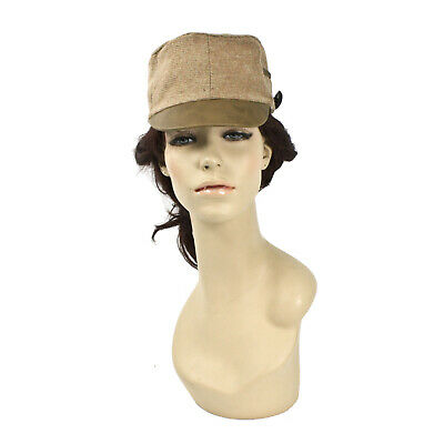 Women's Kepi Hat Light Brown Tan Civil War Style Flat Button Pocket Herringbone