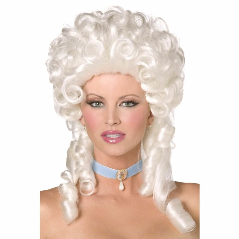Ladies Regency French Monarchy Lady Baroque Wig White Shoulder Ringlet Curls New