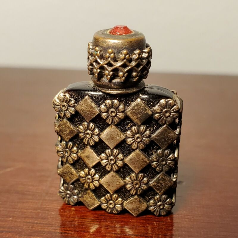 Antique Tiny French Perfume Bottle with Silver Floral Gilt Ormolu & Red Crystal