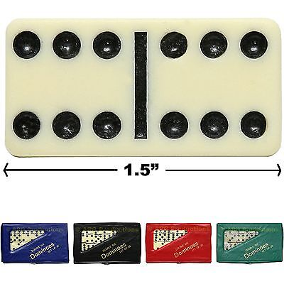 Mini Double Six Dominoes Domino Set Of 28 Ivory Tiles Case Green Black Red Blue