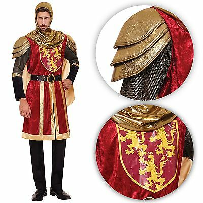 Adult Mens Crusader Knight Red Royal Costume Medieval Armour Arthur Dragon King