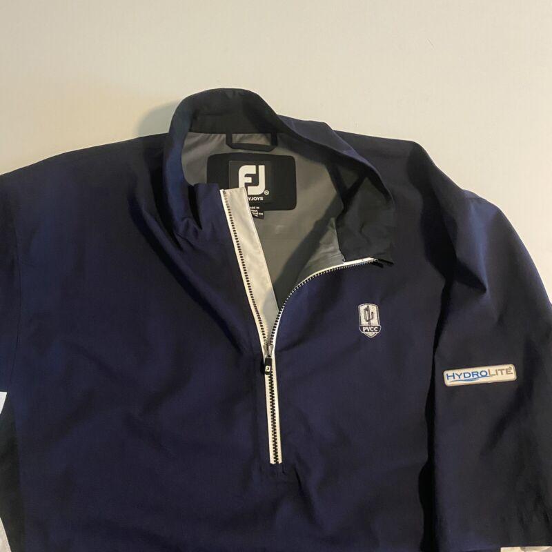 Footjoy Dryjoys FJ HydroLite Mens XL Blue PVCC S/S Golf 1/4 zip Pullover