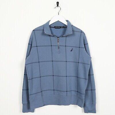 Vintage NAUTICA Small Logo 1/4 Zip Check Pattern Sweatshirt Jumper Blue | Medium