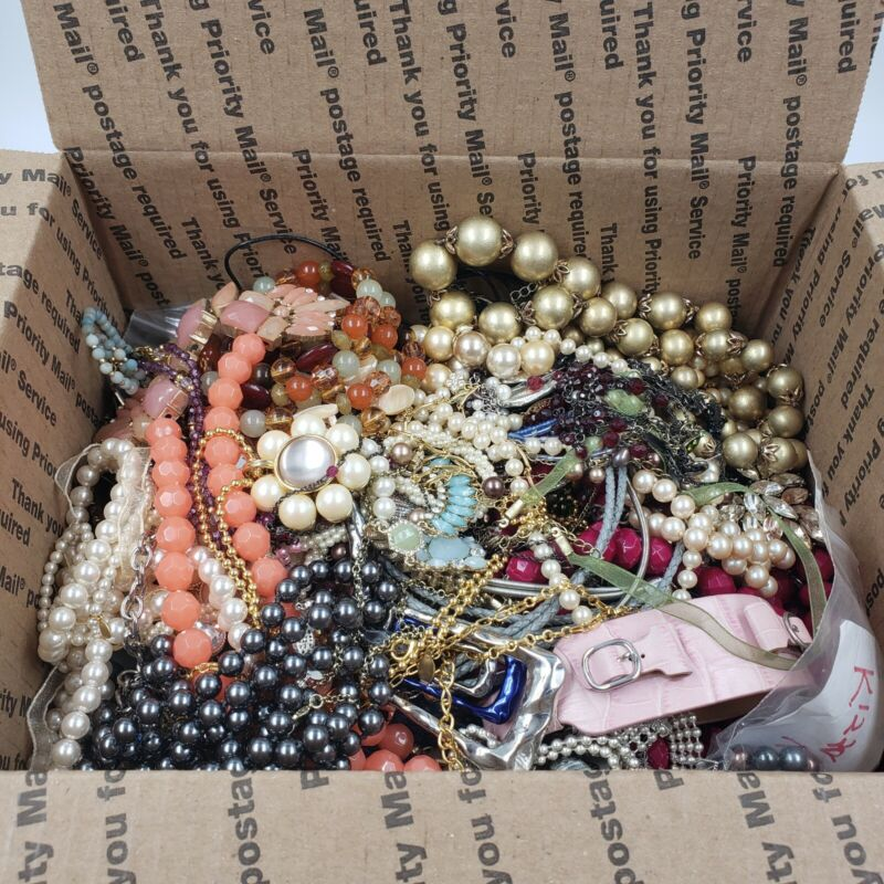 10 lbs ALL Signed Branded Jewelry Lot Mid Designer Wearable Med Flat Rate Box