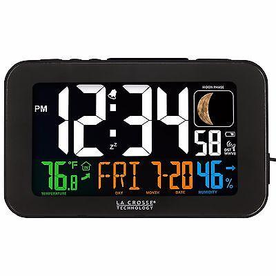 617-1485B La Crosse Technology Atomic Color Digital Alarm Clock with USB Port