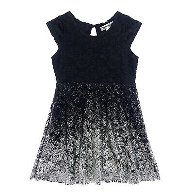 Kensie Girls Black Lace Fit Flare Party Dress Silver Metallic Ombre Detail Age 4
