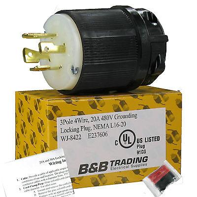 NEMA L16-20 20 Amp 480V 3Ø 3 Pole 4 Wire Grounding Locking Male Plug L16-20P UL  Locking Plug 20 Amp