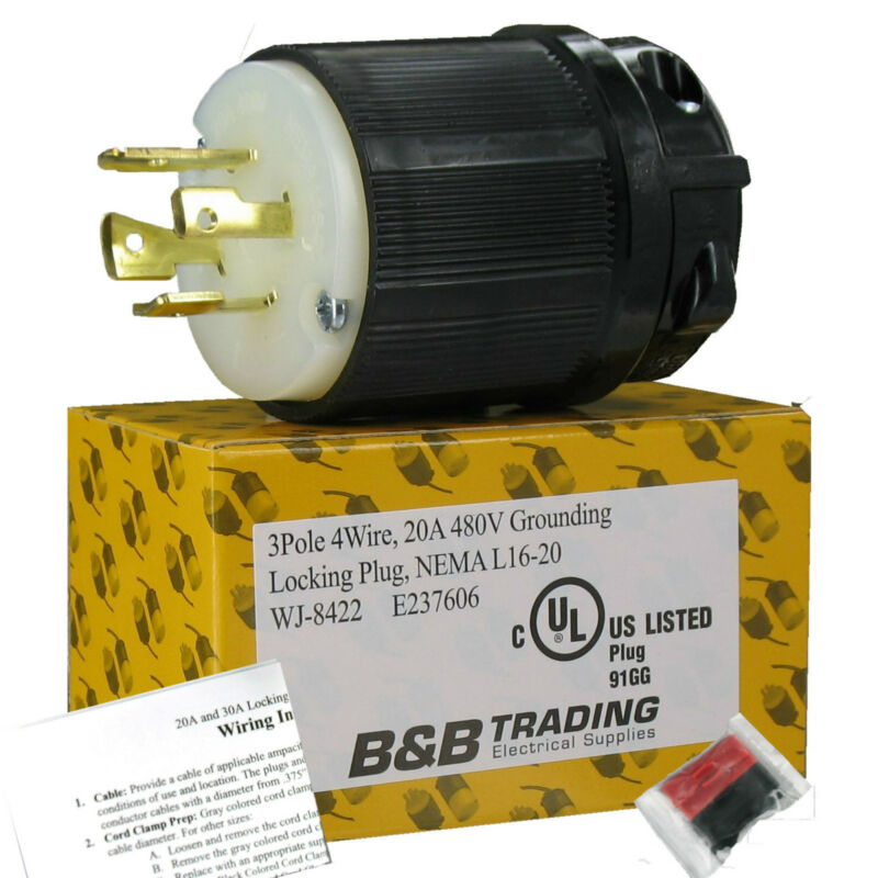 NEMA L16-20 20 Amp 480V 3Ø 3 Pole 4 Wire Grounding Locking Male Plug L16-20P UL