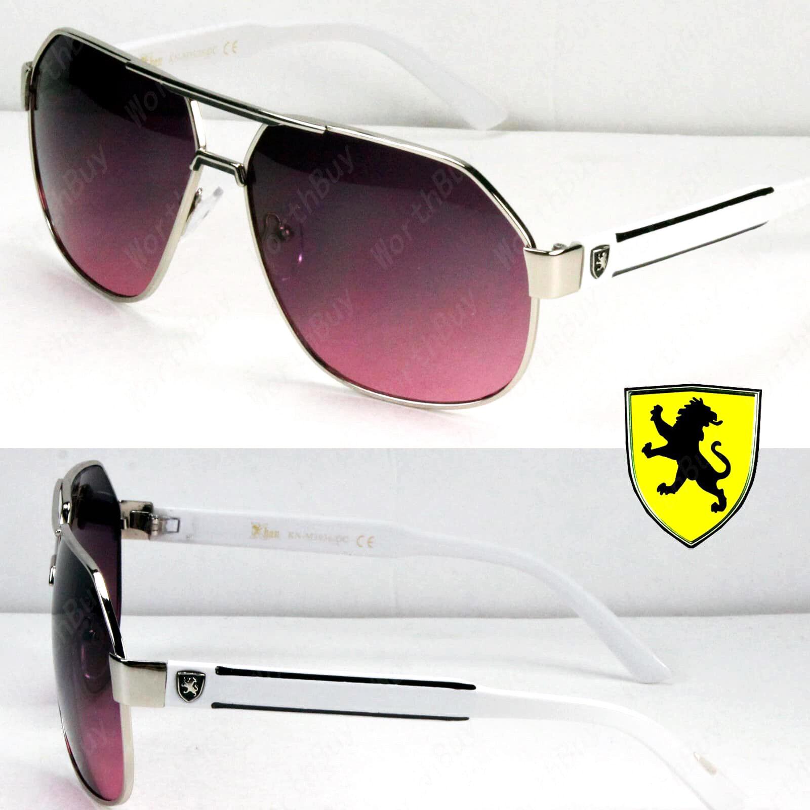 737ca690b793 New Khan Mens Womens Designer Fashion Sunglasses Shades Metal Pilot Retro  Lion