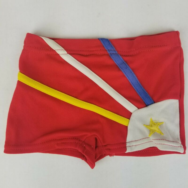 Vintage Toddler Girls sz 2 little funky knits 70s 80s Rainbow Short Shorts red
