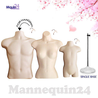 Male Female Toddler Torso Dress Form Set 3 Hangers 1 Stand - Flesh Mannequins