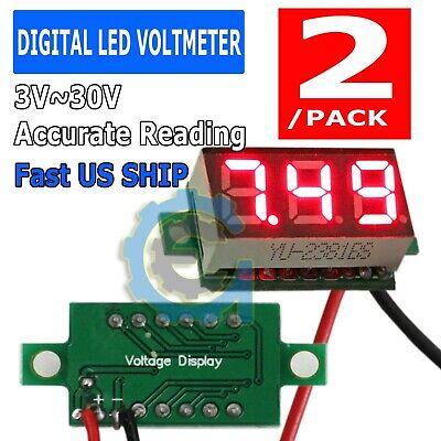 2x Red Dc 0-30v Led Display Digital Voltage Voltmeter Panel Car Motorcycle