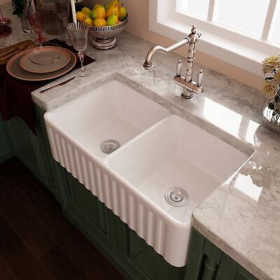 "33"" White Ceramic Double Basin Apron Farmhouse Kitchen Sink with Strainer & Grid"
