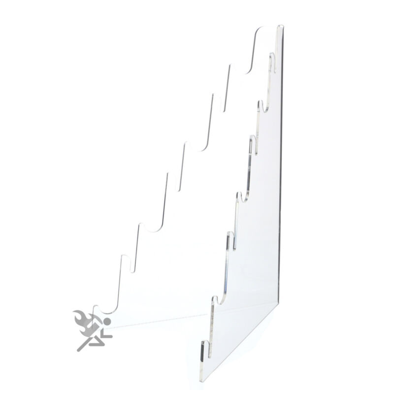 Multi Tier Knife Holder Clear Plastic Display Stand Easel Holds 7 Knives