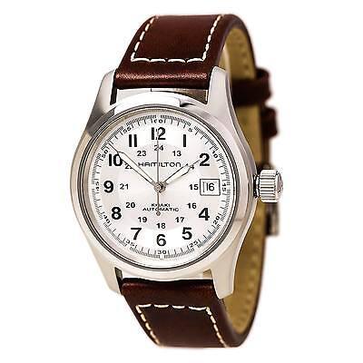 Hamilton H70455553 Men's Khaki Field Silver Dial Brown Strap Automatic Watch