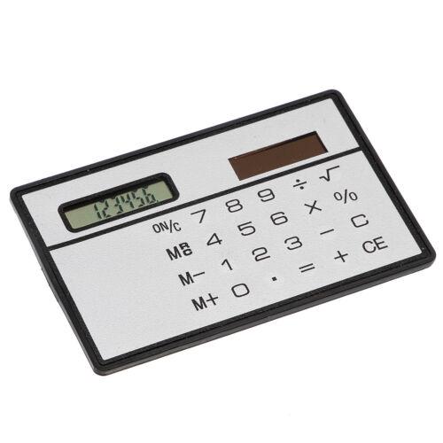 8 Digits Portable Solor Calculator Ultrathin Slim Mini Pocket Size Black/Silver