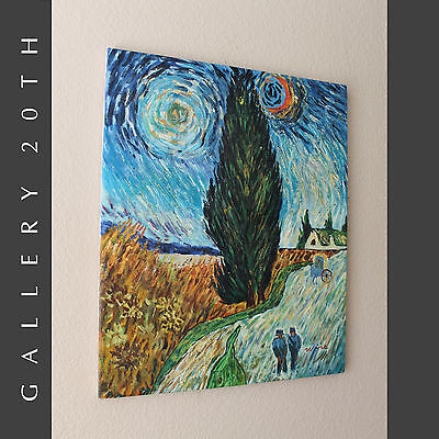 IMPRESSIONIST OIL PAINTING VAN GOGH'S ROAD WITH CYPRESS & STAR! ART RE-CREATION