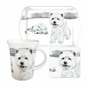 Westie Tea Time Gift Set.  West Highland Terrier Mug, Biscuit Tray & Coaster.